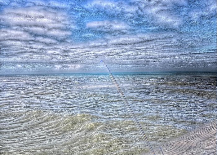 Ocean Greeting Card featuring the photograph The Ocean And The Pole by Tiffney Heaning