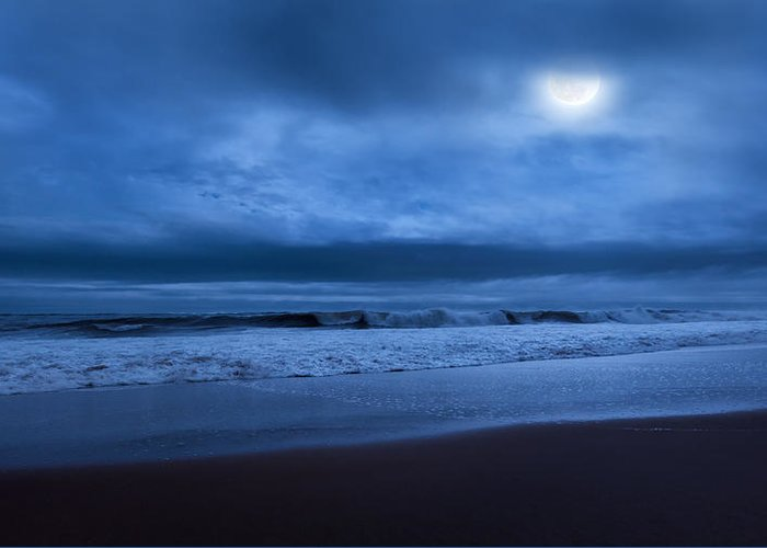 Blue Greeting Card featuring the photograph The Ocean Moon by Bill Wakeley