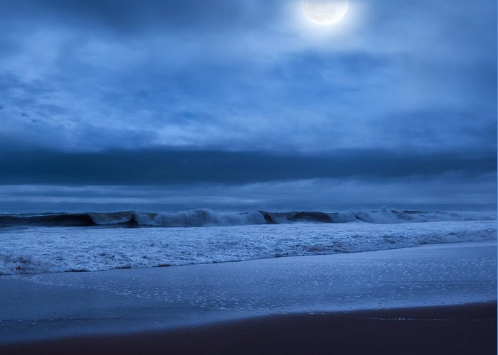Blue Greeting Card featuring the photograph The Ocean Moon Square by Bill Wakeley