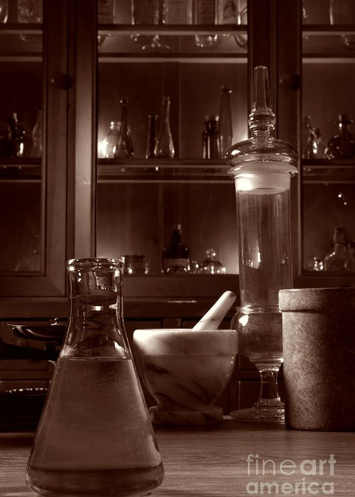 Apothecary Greeting Card featuring the photograph The Old Apothecary Shop by Olivier Le Queinec