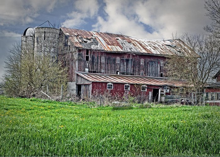 Barn Greeting Card featuring the photograph The Old Barn by Cheryl Cencich