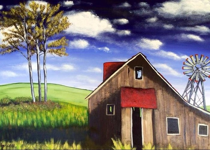 Barn Greeting Card featuring the painting The Old Barn House by Joy Gilley