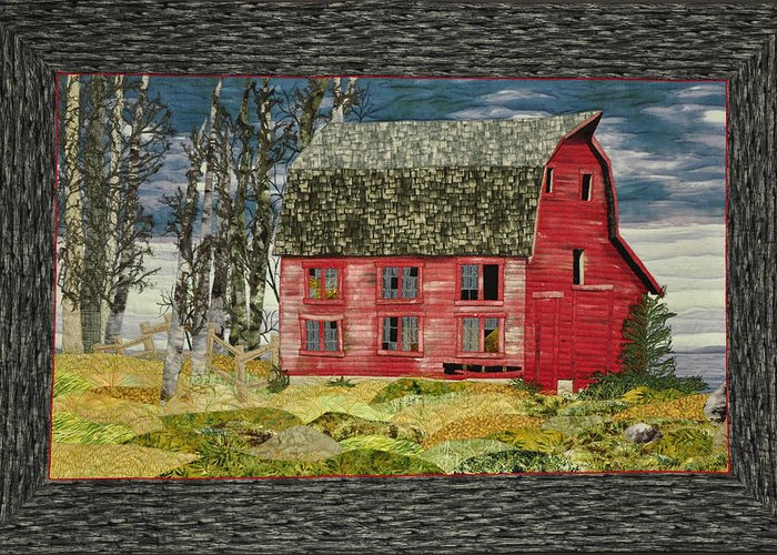 Landscape Greeting Card featuring the painting The Old Barn by Jo Baner