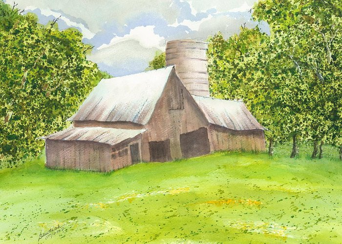 Late Spring Foliage Greeting Card featuring the painting The Old Barn by Joel Deutsch