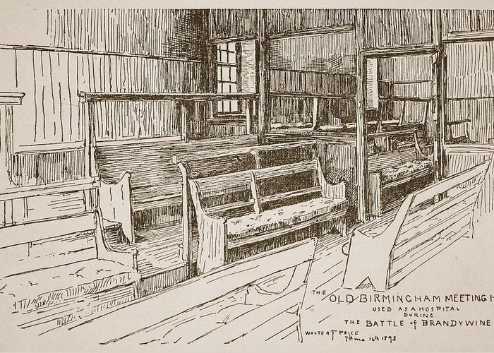 Wooden Greeting Card featuring the drawing The Old Birmingham Meeting House, 1893 by Walter Price