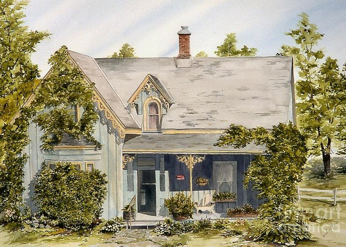 House Greeting Card featuring the painting The Old Blue House by Jackie Mueller-Jones
