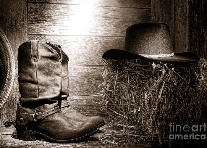 Western Greeting Card featuring the photograph The Old Boots by Olivier Le Queinec