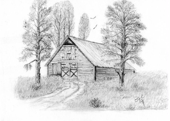 Country Greeting Card featuring the drawing The Old Country Barn by Syl Lobato