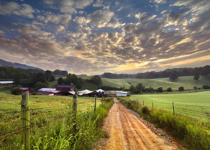 Appalachia Greeting Card featuring the photograph The Old Farm Lane by Debra and Dave Vanderlaan