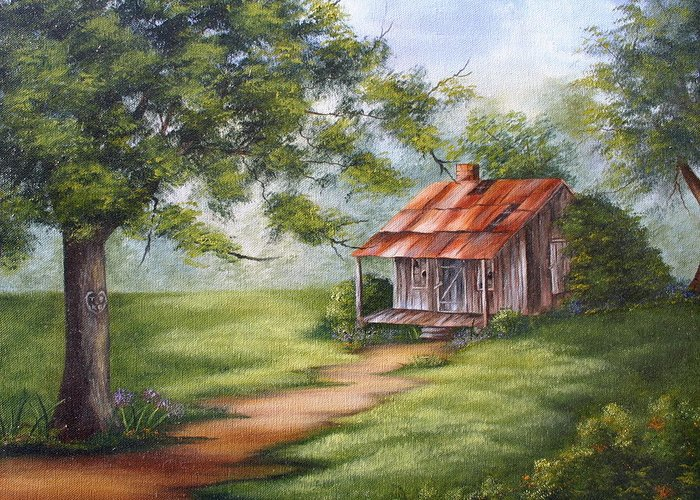 Oil Greeting Card featuring the painting The Old Homestead by Ruth Bares