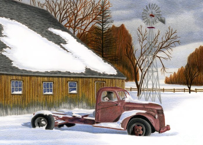 Snow Scenes Drawings Greeting Cards