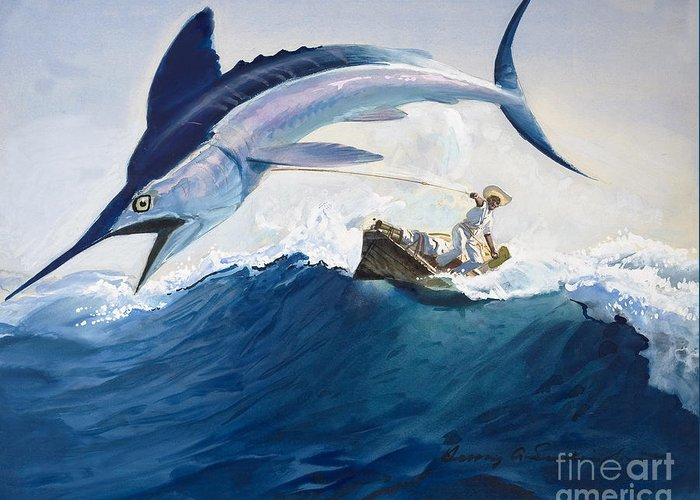 Angling Paintings Greeting Cards