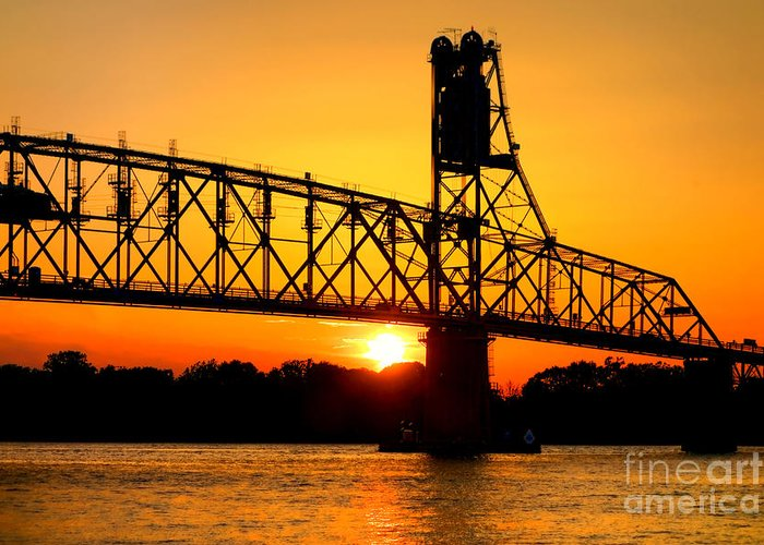 Bridge Greeting Card featuring the photograph The Old Mighty Span by Olivier Le Queinec