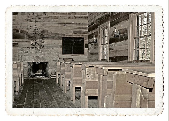 1800 Greeting Card featuring the photograph The Old Schoolhouse by Susan Leggett