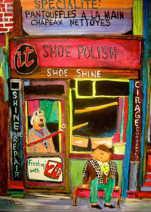 Shoemaker Greeting Card featuring the painting The Old Shoemaker by Michael Litvack