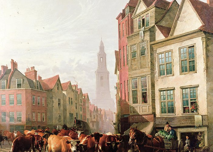 Cows Greeting Card featuring the painting The Old Smithfield Market by Thomas Sidney Cooper