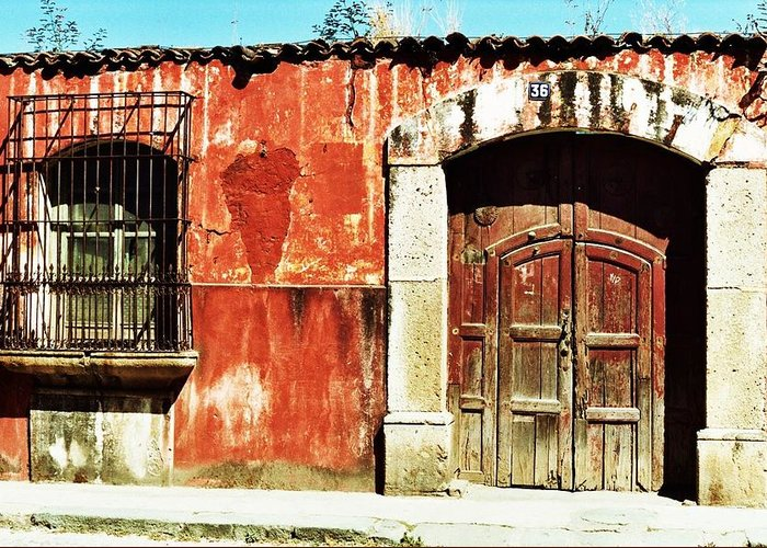 Architecture-house-guatemala-doors Greeting Card featuring the photograph The Old Walls by Rick Ashton