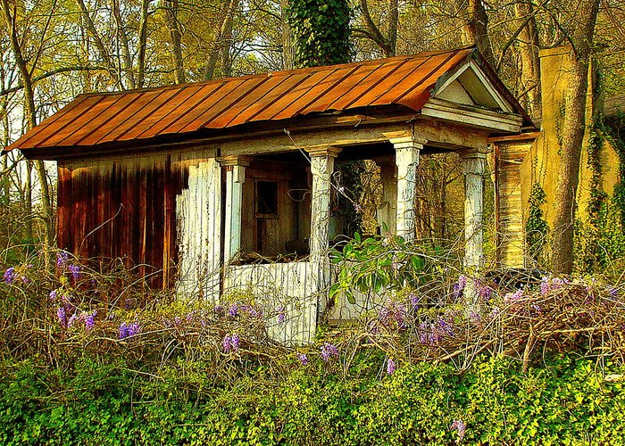 Fine Art Greeting Card featuring the photograph The Old Well House by Rodney Lee Williams