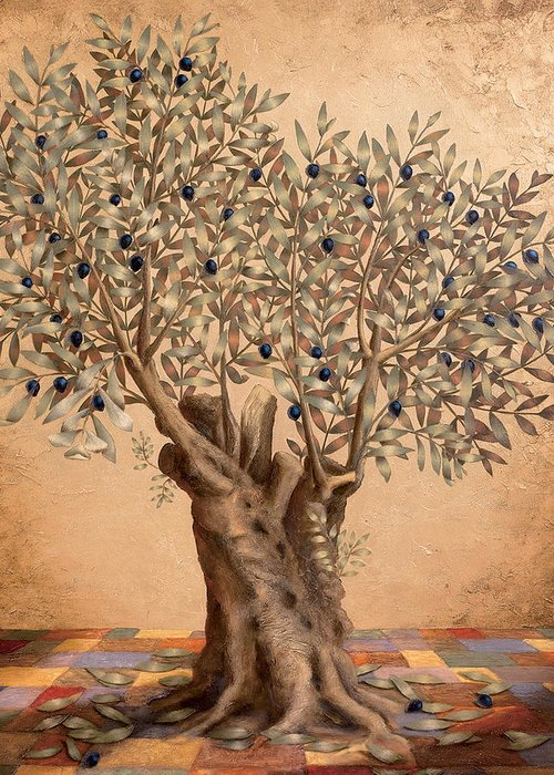 Landscape Greeting Card featuring the painting The Olive Tree by Sobobak