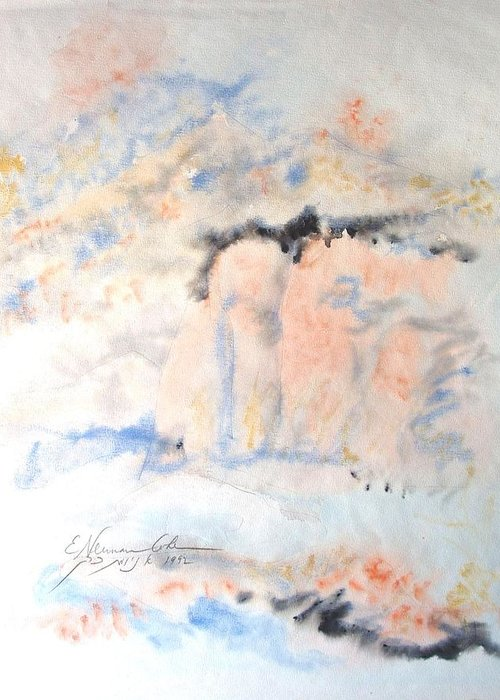 The Orange Bluffs Greeting Card featuring the painting The Orange Bluffs by Esther Newman-Cohen