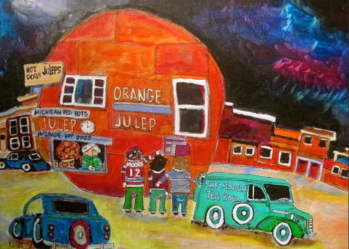 Montreal Memories Greeting Card featuring the painting The Orange Julep Modern Tea Room by Michael Litvack