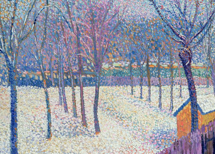 Pointillist Greeting Card featuring the painting The Orchard Under The Snow by Hippolyte Petitjean