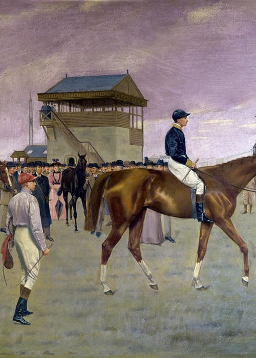 Racehorse Greeting Card featuring the painting The Owner S Enclosure Newmarket by Isaac Cullen