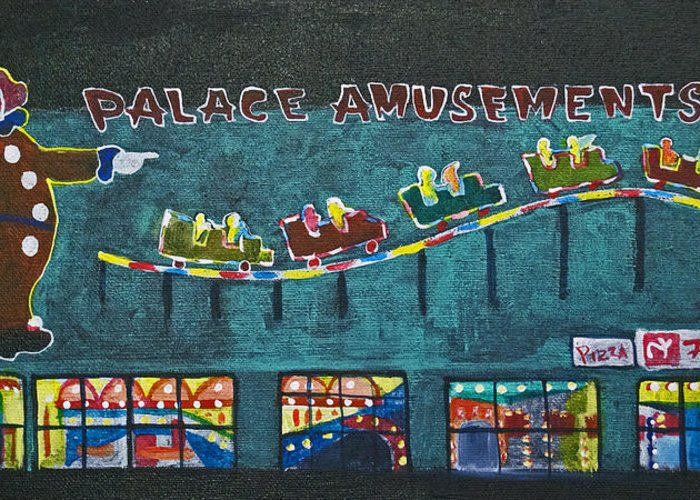 Asbury Park Greeting Card featuring the painting The Palace Clown at Night by Patricia Arroyo
