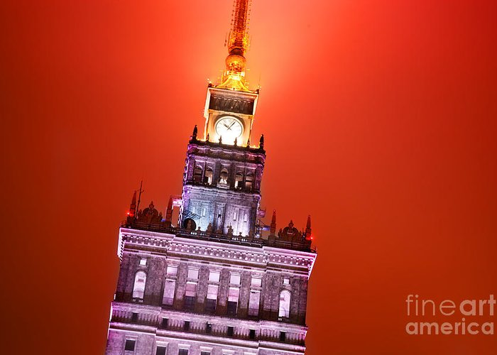 Warsaw Greeting Card featuring the photograph The Palace Of Culture And Science Warsaw Poland by Michal Bednarek