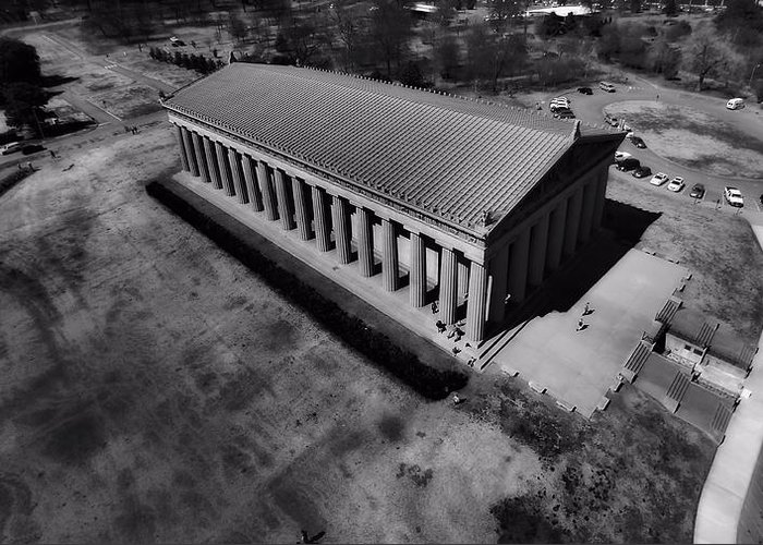 Aerial Photography Of The Parthenon Greeting Card featuring the photograph The Parthenon In Black And White by Dan Sproul
