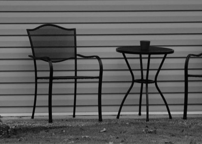 Macro Greeting Card featuring the photograph The Patio Chairs In Black And White by Rob Hans