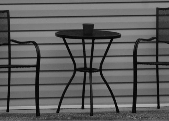 Macro Greeting Card featuring the photograph The Patio In Black And White by Rob Hans