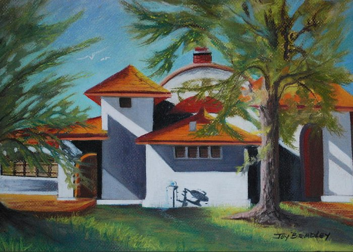 Pavilion Greeting Card featuring the pastel The Pavilion by Joy Bradley