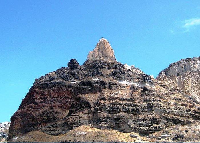 Santorini Greeting Card featuring the photograph The Peak Above by Teresa Ruiz