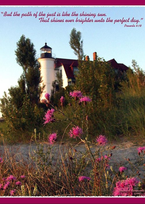 Lighthouse Greeting Card featuring the photograph The Perfect Day by Stephen Campanella