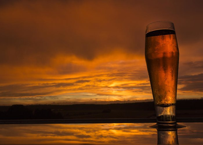 Sunset Greeting Card featuring the photograph The Perfect German Beerset by Laura Dixon