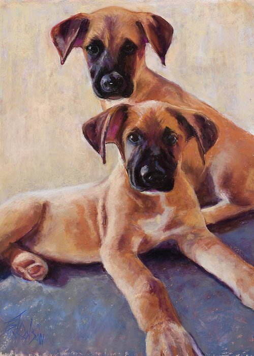 Great Dane Greeting Card featuring the painting The Perfect Pair by Billie Colson