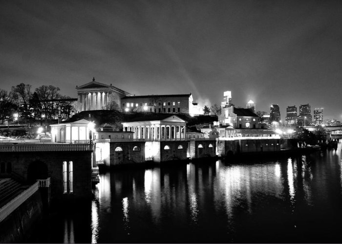 Philadelphia Greeting Card featuring the photograph The Philadelphia Waterworks In Black And White by Bill Cannon