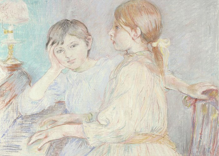 Male; Female; Boy; Girl; Playing; Practice; Practising; Brother; Sister; Ennui; Concentration; Interior; Impressionist; Portrait; Three-quarter Length Greeting Card featuring the pastel The Piano by Berthe Morisot