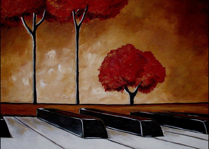 Piano Greeting Card featuring the painting The Piano Man's Dream by Vickie Warner