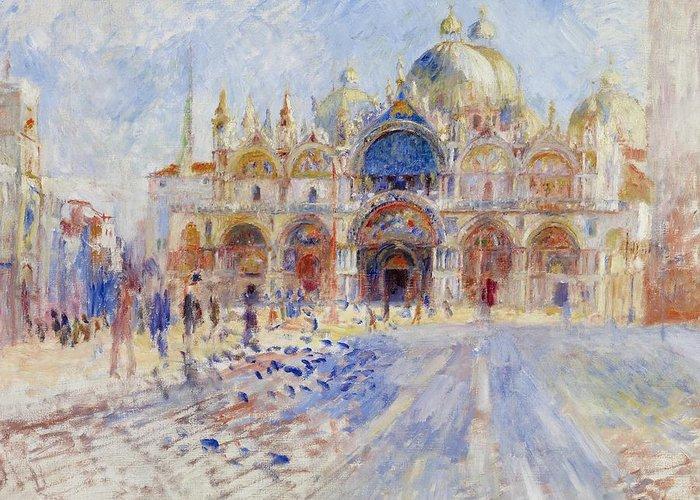 Pierre Auguste Renoir Greeting Card featuring the painting The Piazza San Marco by Pierre Auguste Renoir