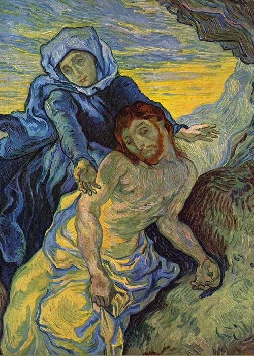 Pieta Greeting Card featuring the painting The Pieta After Delacroix 1889 by Vincent Van Gogh