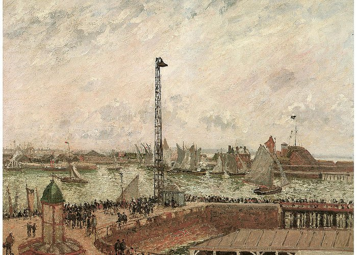Camille Pissarro Greeting Card featuring the painting The Pilot's Jetty Le Harve Mornig Grey Weather Misty by Camille Pissarro