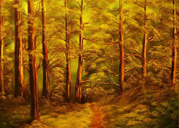 Fores Greeting Card featuring the painting The Pine Tree Forest-original Sold-buy Giclee Print Nr 34 Of Limited Edition Of 40 Prints by Eddie Michael Beck