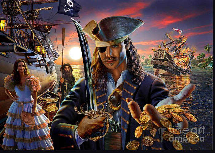 Adrian Chesterman Greeting Card featuring the digital art The Pirate by Adrian Chesterman