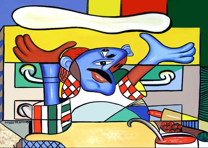 Pizza Chef Greeting Card featuring the painting The Pizza Guy by Anthony Falbo
