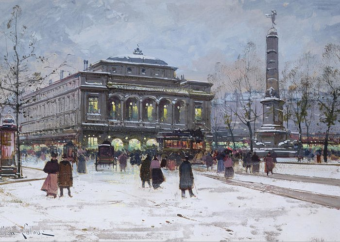 Theatre De La Ville Greeting Card featuring the painting The Place Du Chatelet Paris by Eugene Galien-Laloue
