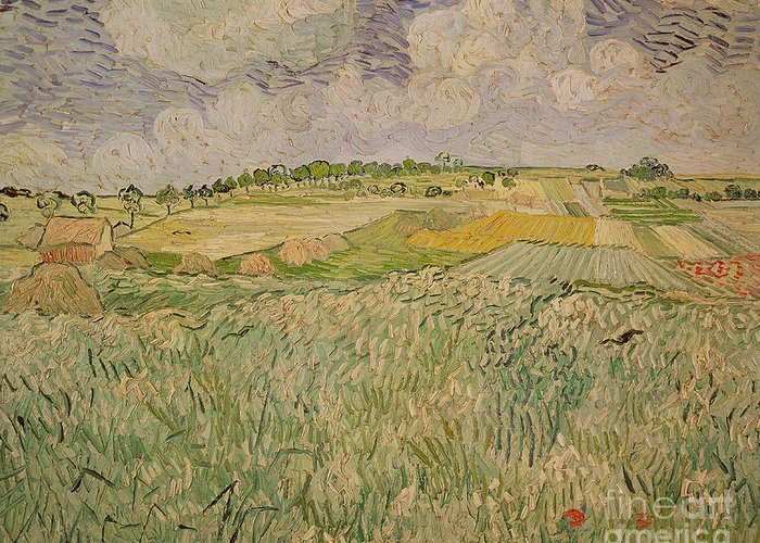 Field Greeting Card featuring the painting The Plain At Auvers by Vincent Van Gogh