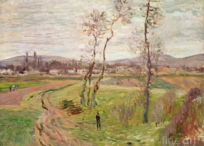 The Plain At Gennevilliers Greeting Card featuring the painting The Plain At Gennevilliers by Claude Monet