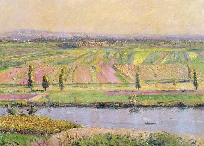Landscape Greeting Card featuring the painting The Plain Of Gennevilliers From The Hills Of Argenteuil by Gustave Caillebotte